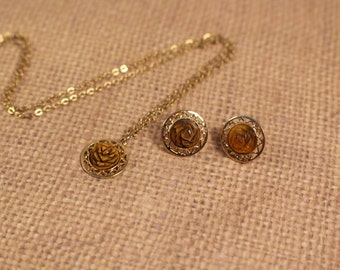 Sarah Coventry Carved Tiger Eye Necklace Pendant and Clip On Earrings - Vintage 1973