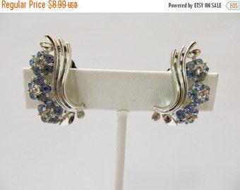 On Sale Vintage Blue Rhinestone Floral Earrings Item K # 1493