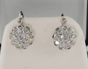 Sold! Art Deco 4.00 Ct old cut diamond rare cluster earrings