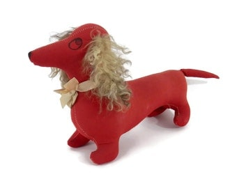 Red Cloth Dachshund Dog with Curly Lamb Ears Stuffed with Sawdust  1950's Primtives Folk Art