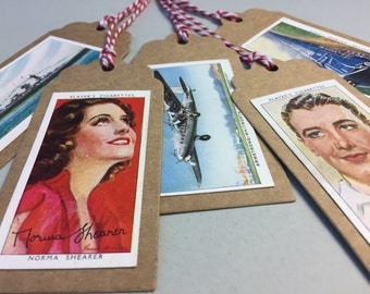 Gift wrapping tags high quality brown card, Vintage cigarette cards and baker twine, cinema, Movie Stars, Pinups, Hollywood glamour