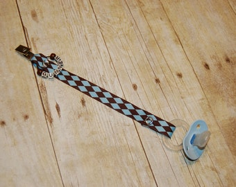 Pacifier Clip, Blue & Chocolate Diamonds, Personalization Available, Ready to Ship, Free USA Shipping