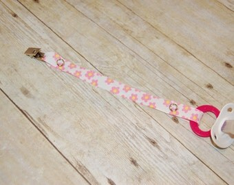 Pacifier Clip, Pink Flowers, Personalization Available, Ready to Ship, Free USA Shipping