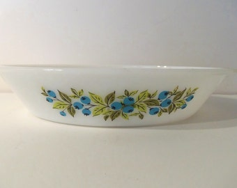 Blueberry Glasbake Divided Casserole/Serving Milk Glass Dish J2352  *Price Includes Domestic Shipping