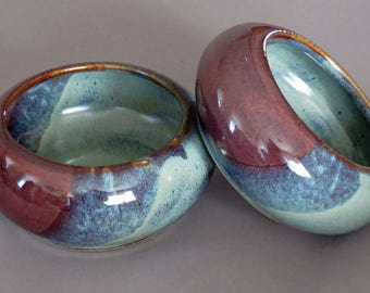 Pair of small Spaniel bowls, dog dishes, pet bowls, handmade dog bowls, pottery