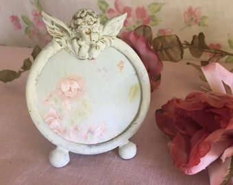 Small Cherub Picture Frame = round Cottage Chic - table bedside - metal shabby chic picture frame