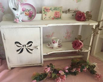 Vintage Curio Cabinet,.Shabby Chic wall cabinet,French Farmhouse decor, Painted white, Kitchen Cabinet - Nursery storage, girls room