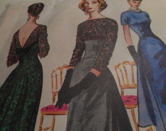 SALE Vintage 1950's McCall's 3862 Dress Sewing Pattern, Size 16 Bust 36