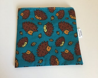 Reusable Sandwich Bag -- Hedgehogs, Eco-Friendly