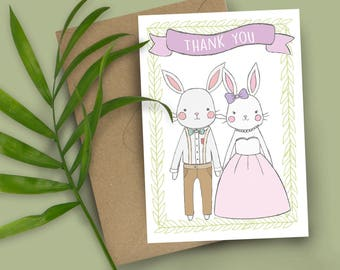 Woodland Whimsical Animals Thank You Cards Set