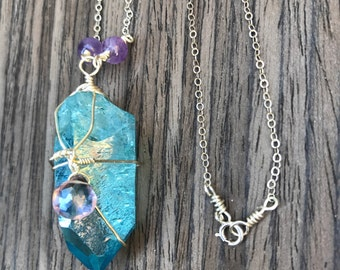 One of a kind Aqua Aura, Pink Amethyst and Amethyst Sterling Silver Necklace, Intrinsic Journeys Jewelry