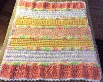Unisex Creamsicle Hand Knitted Baby Blanket