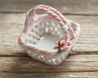 Vintage White Porcelain Basket with a Pink Rose, Shabby Chic Basket Figurine