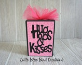 ready to ship Hugs and kisses wood block - decorative wood block - wood sign - valentines day - hearts - love - handmade - i love you