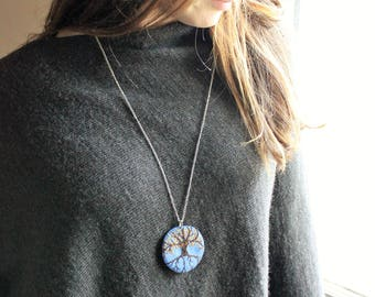 Tree of Life Pendant - hand embroidered  dark sky blue ecofelt,  with tree and Autumn/ Fall  theme