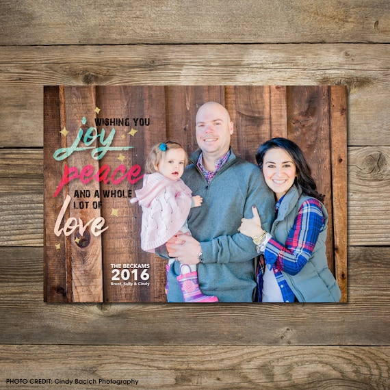 Photo Christmas Card : Faux Gold/Silver Foil Joy, Peace, Love Photo Holiday Card Printable