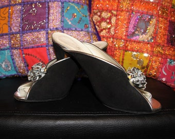 The Flapper-60s 70s Flapper Style Black Suede and Silver Leather Flower Slingback Mule Peep Toe Heels