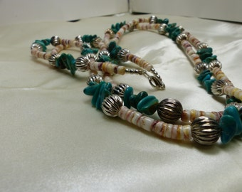 "Turquoise Fetish Necklace with Silver Melon Beads - 2oz,17 grms, 76 grms-Double Strand 25"" long-1751"