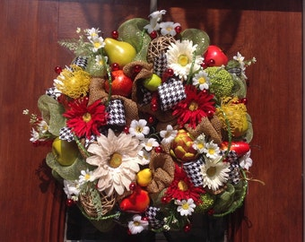 Burlap and Mesh Flowers and Fruits Wreath or Centerpiece