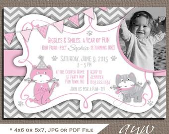 Cat 1st Birthday Party Invitation Girl Kitty Birthday Invitation Chevron Kitty Cat First Birthday Invites Printable Invitations Photo Card
