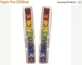 EOM Sale Multicolor Rainbow Sapphire Earrings J Hoop Huggie 925 Sterling Silver (2ct tw) SKU: 1557-925