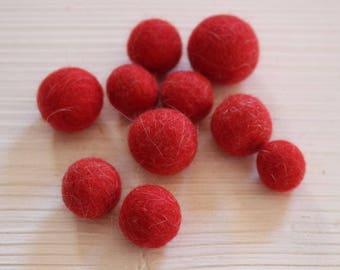 Red  handmade felt beads
