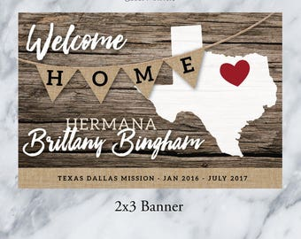 PRINTED WelcomeHome BANNER 2'x3' with grommets / LDS Homecoming Poster / Rustic Wood and Burlap / #WelcomeHome #Missionary #LDSMission