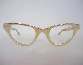 "Tura Gold Tone Mirror Finish ""After Five"" Model Vintage Cat Eye Eyeglass Frames New Old Stock (NOS) Aluminum Simple Elegance SMALLER Fit 50s"