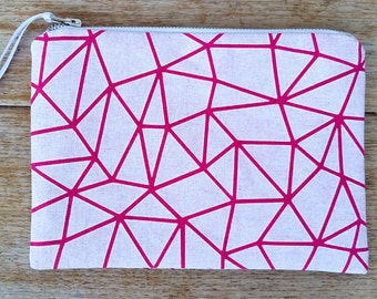 Geo-triangle pouch - white on bright pink- screen printed and handmade