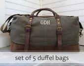 Mens Canvas and Leather Weekender Duffle Bag with Monogram Set of 5
