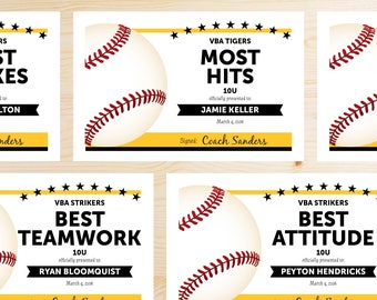 Editable Baseball Award Certificates - INSTANT DOWNLOAD PRINTABLE - Black and Gold Yellow