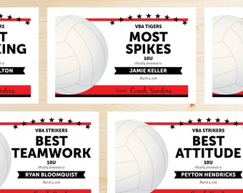 Editable Volleyball Award Certificates - INSTANT DOWNLOAD PRINTABLE - Black and Red