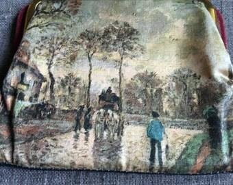 Vintage leather change purse of landscape