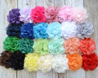 """Large 3.5"""" Lace mesh flowers- YOU PICK quantity- fabric flowers, shabby chic flower, flower applique, headband supply, wholesale flowers"""