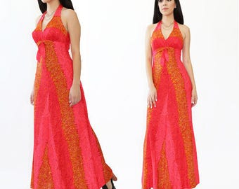 Vintage 70s Hawaiian De Weese orange boho hippie beach swim Maxi Halter dress XS