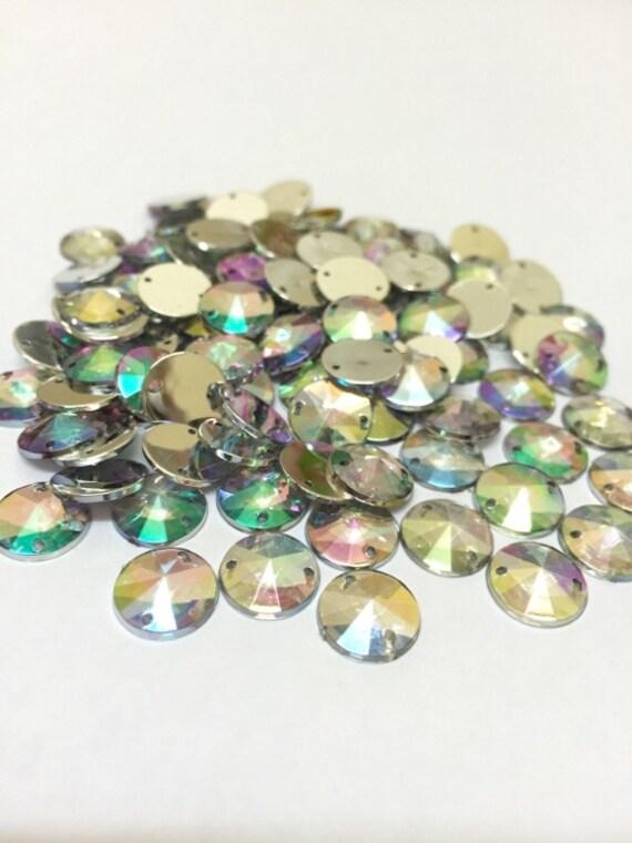 Crystal AB Round Flat Back Pointed Sew On Rivoli Acrylic Rhinestones Embellishment Gems C1