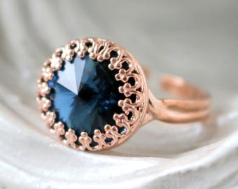 Navy | Princess Crown Ring | Swarovski Crystal Ring | Adjustable | Rose Gold Ring | Victorian Crown Ring | Gift For Her | Bridal Jewelry
