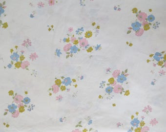 Vintage Sheet - Pastel Flowers - Full or Double Flat Sheet 100% Cotton by Pacific