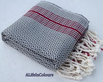 Granite black colour diamond herringbone patterned Turkish soft cotton bath towel, beach towel, pool towel.