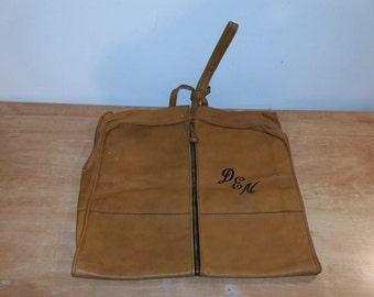 Vintage British Tan Brown Bi-Fold Colombian Leather One Strap Garment Travel Case Bag Luggage