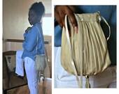 Crossbody, Leather Crossbody Bag, Pouch with Tassel, Gold Leather Bag, Evening and Wedding Purse, Boho Drawstring Bag, Music Festival Bag