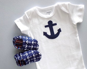Nautical Baby Boy Onesie with Baby Shoes, Size 3 mos Onesie, Boy Gift Set, Baby Boy One Piece, Nautical Baby, Baby Gift, Ready to Ship