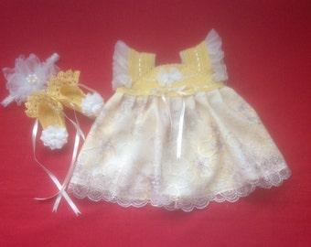 Handmade Crochet Newborn Baby Girl Dress Set- Amber Rose