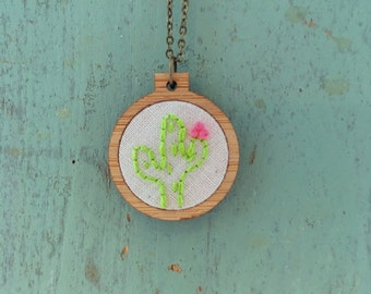 cactus necklace cactus art desert art embroidered jewelry embroidery hoop art statement necklace hand embroidery gifts for her gift ideas