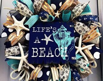 ONE AVAILABLE! Nautical wreath - Beach Wreath - Burlap - Summer Deco Mesh Wreath - Beach Wreath - Summer Door Decoration - Beach House