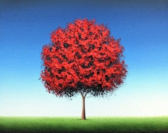 Red Tree Art Print,  Giclee Print of Landscape Painting, Fine Art Print of Oil Painting, Clear Blue Sky, Contemporary Art, Kids Room Decor