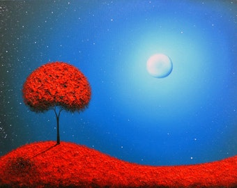 Blue Night Landscape, Red Tree Art Print, Photo Print of Red and Blue Landscape with Moon, Contemporary Art, Abstract Art Tree at Night