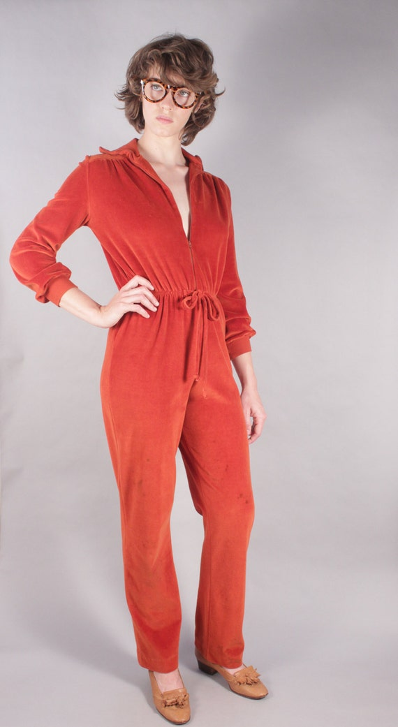 70s Burnt Orange Zip-Up Velour Romper Jumpsuit