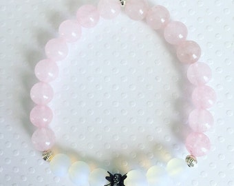 Handmade bracelet. Rose quartz and moonstone beaded stretch bracelet. Pink bracelet. Chic. Sugarplum Gallery.