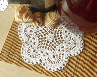 Small crochet doily White doily Handmade cotton lace doily Crochet doilies 369